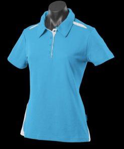 Women's Paterson Polo - 12, Pacific Blue/White