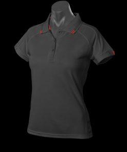 Women's Flinders Polo - 14, Black/Red