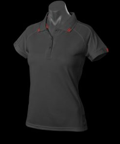 Women's Flinders Polo - 26, Black/Red