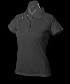 Women's Flinders Polo - 16, Black/Teal