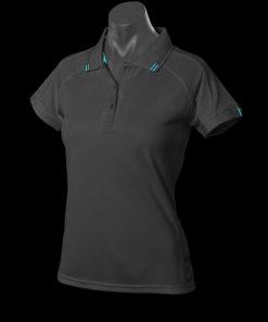 Women's Flinders Polo - 20, Black/Teal