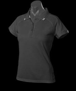Women's Flinders Polo - 16, Black/White