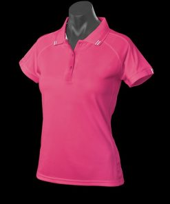 Women's Flinders Polo - 14, Hot Pink/White