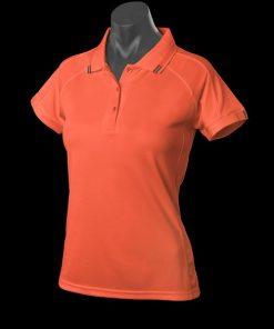 Women's Flinders Polo - 14, Orange/Slate