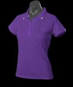 Women's Flinders Polo - 14, Purple/White