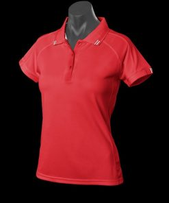 Women's Flinders Polo - 18, Red/White