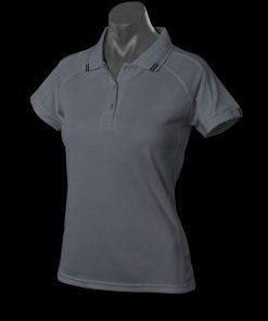 Women's Flinders Polo - 10, Slate/Black