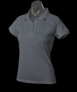 Women's Flinders Polo - 14, Slate/Black