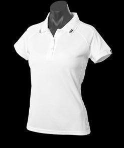 Women's Flinders Polo - 14, White/Black
