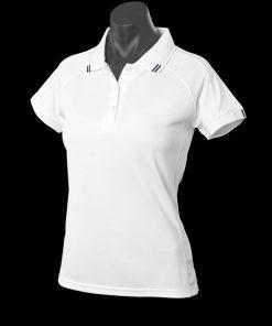 Women's Flinders Polo - 16, White/Navy