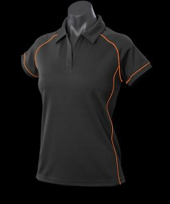 Women's Endeavour Polo - 12, Black/Fluro Orange