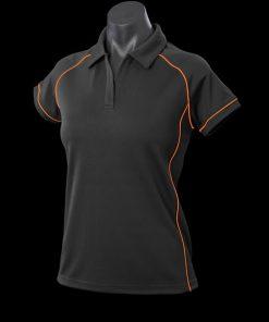 Women's Endeavour Polo - 16, Black/Fluro Orange
