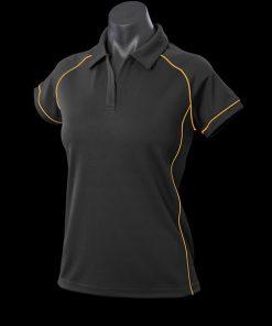 Women's Endeavour Polo - 18, Black/Gold