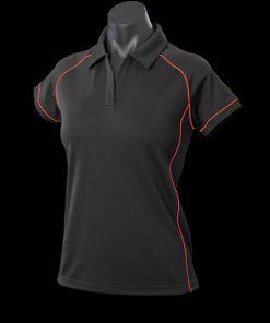Women's Endeavour Polo - 16, Black/Red