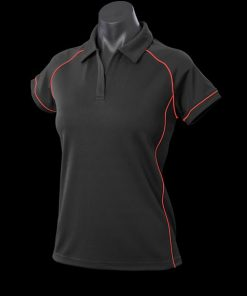 Women's Endeavour Polo - 20, Black/Red