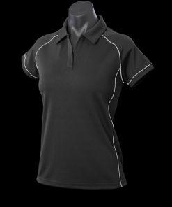 Women's Endeavour Polo - 18, Black/Silver