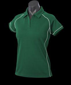 Women's Endeavour Polo - 14, Bottle Green/White