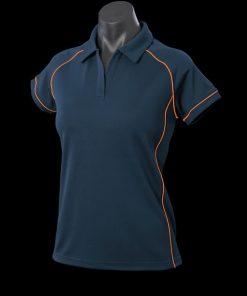 Women's Endeavour Polo - 12, Navy/Fluro Orange