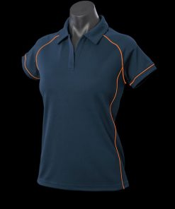 Women's Endeavour Polo - 8, Navy/Fluro Orange