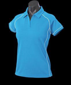 Women's Endeavour Polo - 18, Pacific Blue/White