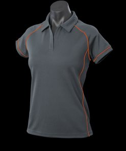 Women's Endeavour Polo - 8, Slate/Fluro Orange