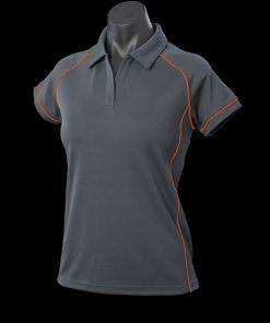 Women's Endeavour Polo - 10, Slate/Fluro Orange
