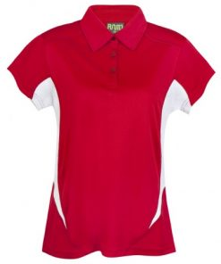 Womens Poly Sports Polo - Red/White