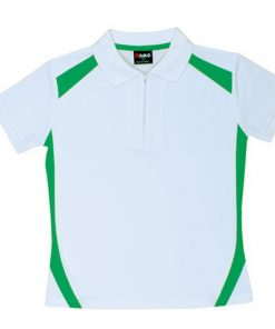 Women's Cool Sports Polo - 14, White/Emerald Green