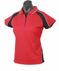 Women's Panorama Polo - 16, Red/Black/White