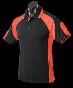 Kids' Murray Polo - 14, Black/Orange/Ashe