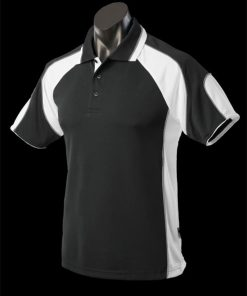 Kids' Murray Polo - 16, Black/White/Ashe