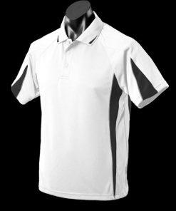 Kids' Eureka Polo - 16, White/Black/Ashe