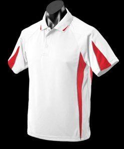 Kids' Murray Polo - 8, White/Red/Ashe