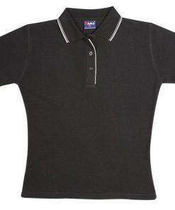 Women's Double Strip Polo - 16, Black/White