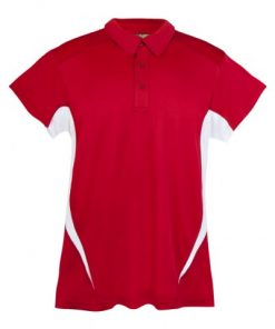 Mens Poly Sports Polo - Red/White
