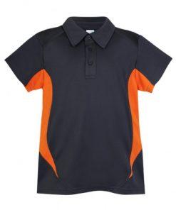 Kids Poly Sports Polo - Charcoal/Orange