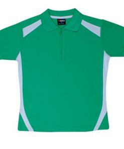 Kids' Cool Sports Polo - 4, Emerald Green/White