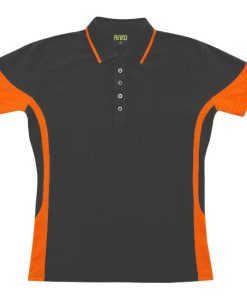 Women's super fine cotton blend polo - 14, Charcoal/Orange
