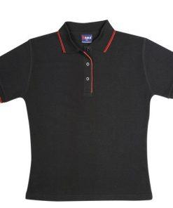 Women's Double Strip Polo - 14, Black/Red
