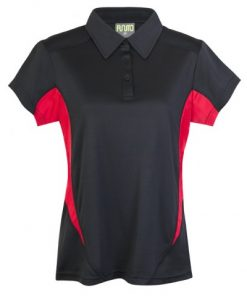 Womens Poly Sports Polo - Black/Red