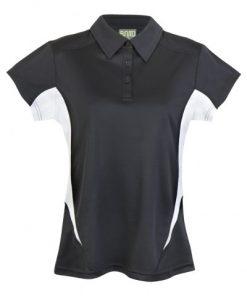 Womens Poly Sports Polo - Black/White
