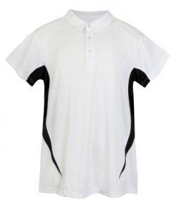 Mens Poly Sports Polo - White/Black