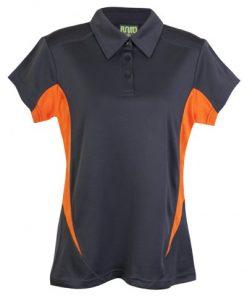 Womens Poly Sports Polo - Charcoal/Orange