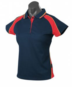Women's Panorama Polo - 22, Navy/Red/Gold