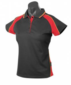 Women's Panorama Polo - 12, Black/Red/Gold