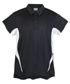Mens Poly Sports Polo - Black/White