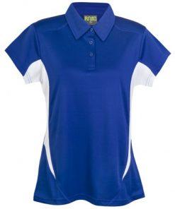 Womens Poly Sports Polo - Royal/White
