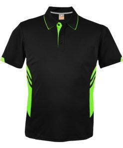 Kid's Tasman Polo - 16, Black/Neon Green
