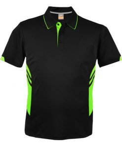 Kid's Tasman Polo - 6, Black/Neon Green