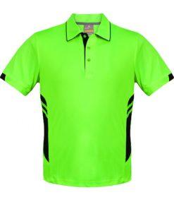 Kid's Tasman Polo - 10, Neon Green/Black